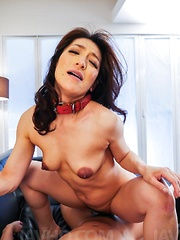 Marina Matsumoto with dark nipples is fucked in asshole and crack