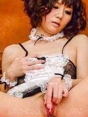 Yurika Miyachi sucks dick till gets cum and has sex toys in slit