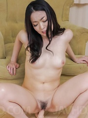 Ryu Enami puts vibrator on clit and another one in hairy pussy