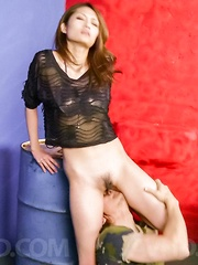 Riina Fujimoto in lace blouse has nooky licked and well pumped