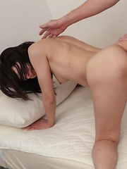 Rikako Asian gets hard and sucked boner between hairy labia