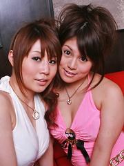 Honami Isshiki and Alice Mizuno pose topless