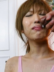 Meri Kanami Asian has to take cum on face after giving blowjobs