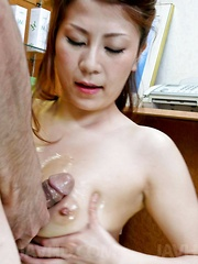 Yuki Aida Asian gets phallus and sperm on her juicy bazoom bas
