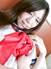 Yukari Asian doll gets vibrators on cunt under school uniform