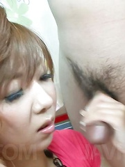 Hinano Asian nymphet gets sperm on face from two dicks she sucks